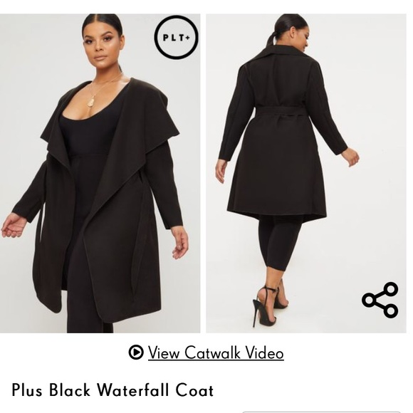 PrettyLittleThing Plus Size Black Waterfall Coat NWT